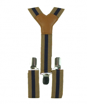 Young Children's adjustable elastic Y-Back Wide Striped Brace Set in Brown and Navy
