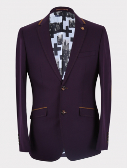 Men's Classic Slim Fit Business Suit Jacket and waistcoat in Plum front  picture