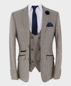 Mens blazer with a matching waistcoat and accessories Houndstooth Check Skinny Fit  Tan Beige open front picture