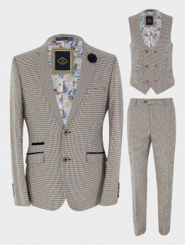 Mens Suit  3 Piece Houndstooth Check Skinny Fit  Tan Beige Set