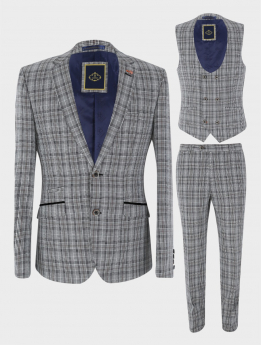 View of the blazer jacket, waistcoat and trouser from the Mens Suit Formal Tweed Check 3 Piece Skinny Fit Set in Grey