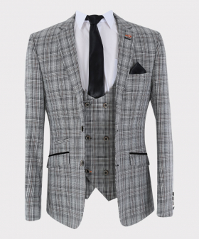 View of the blazer jacket, waistcoat, shirt, tie and hanky from the Mens Suit Formal Tweed Check 3 Piece Skinny Fit Set in Grey