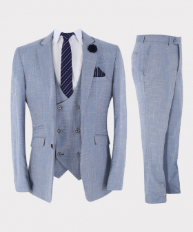 Mens Suit Vintage Check 3 Piece Slim Fit Set in Light Blue with accessories picture