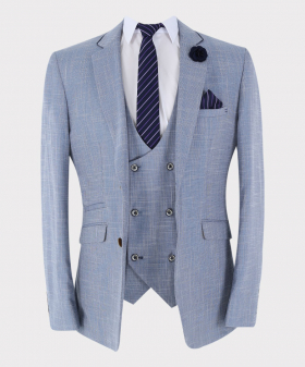 Mens Suit Vintage Check  Slim Fit jacket and waistcoat with accessories  in Light Blue Open Front Picture
