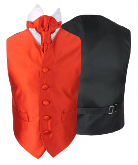 Romano Vianni Boys Red Satin Waistcoat & Adjustable Cravat Set