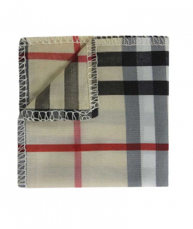 View from the hanky of the Boys Bow Tie Burberry Check Style Beige with White Strap