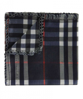 View from the hanky of the Boys Bow Tie Burberry Check Style Navy Blue Strap