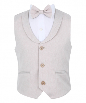 Baby Boy's Formal Single breasted  Waistcoat with collar and accessories in Light Beige front picture