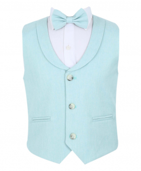 Baby Boy's Formal Single-breasted Waistcoat with collar and accessories in Light Green front picture