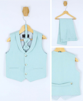Baby Boy's Formal 3 Piece Waistcoat Suit Set in Light Green front picture