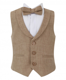 Baby Boy's Single-Breasted Self-Patterned 2 Piece Waistcoat Set with a collar in Beige front picture