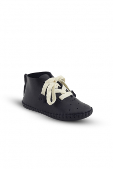 Baby Boys Genuine Leather Casual Newborn Crib Shoes in Black side picture