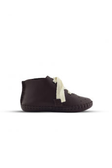 Baby Boys Genuine Leather Casual Newborn Crib Shoes in Brown side details picture