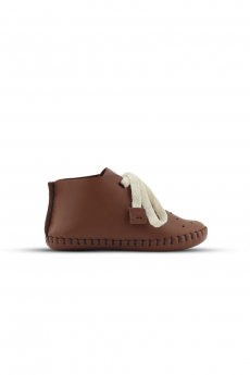 Baby Boys Genuine Leather Casual Newborn Crib Shoes in Tan Brown side details picture