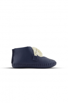 Baby Boys Genuine Leather Soft Sole First Walker Crib Shoes in Navy Blue side details picture