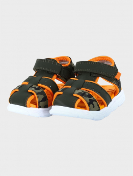 Baby Boys Trekking Summer Sandals in Green pair side picture