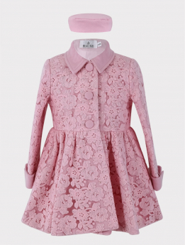 Baby Girl Coat 2 Piece Lace Embroidered Floral Set in Pink  Front view
