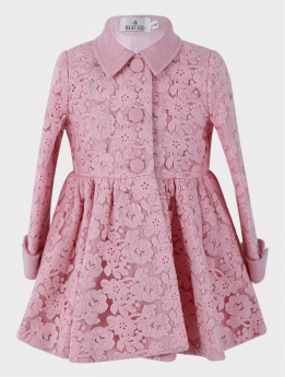 Near view of the Baby Girl Coat 2 Piece Lace Embroidered Floral Set in Pink