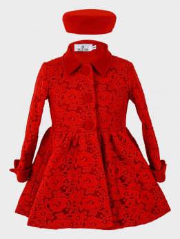 Baby Girl Coat 2 Piece Lace Embroidered Floral Set in Red
