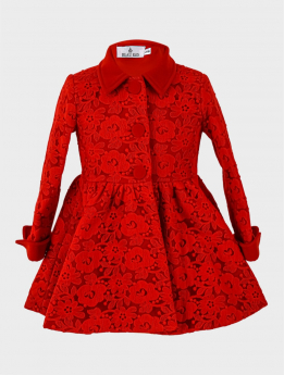Baby Girl Floral Lace Embroidered Coat  Floral in Red Front  picture
