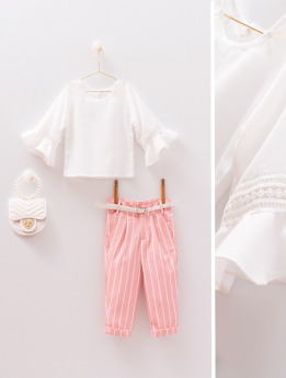 Baby Girls Lace Blouse & Trousers 4 Piece Set in White & Pink for Spring-Summer Front and detail Pictures