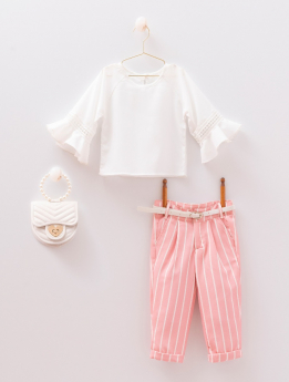 Baby Girls Lace Blouse & Trousers 4 Piece Set in White & Pink for Spring-Summer Front Picture