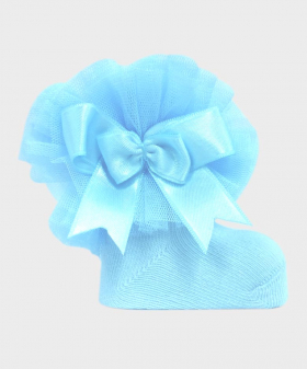 Baby Girls Ruffle Bow Blue Frilly Ankle Socks Details