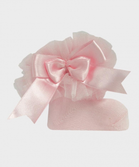 Baby Girls Ruffle Bow Pink Frilly Ankle Socks