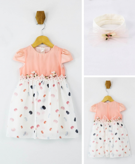 Baby Girls Short Sleeves Polka Casual Summer Dress 2 Piece Set in Pink  front pink