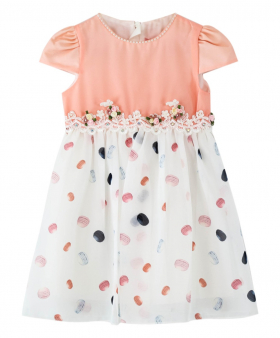 Baby Girls Short Sleeves Polka Casual Summer Dress in Pink  front pink