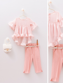 Baby Girls Spring Summer Top & Trousers 4 Piece Casual Outfit in Pink Front and detail Pictures