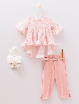 Baby Girls Spring Summer Top & Trousers 4 Piece Casual Outfit in Pink Front Picture
