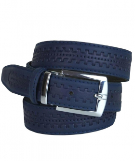 Boys Faux Leather Patterned Navy Belt