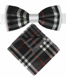 View of the Boys Bow Tie and Hanky in Burberry Style Black Check with White Strap