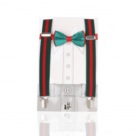 View of the Young Boys Adjustable Elastic Y-Back Wide Striped Brace in Green and Red  with bow tie