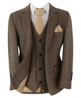 Open front view from th Paul Andrew Father and Son Tailored Fit Textured Tweed Suit in Brown