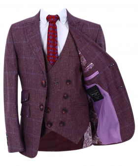 Boy's Check Slim Fit Suit Formal windowpane check jacket and double-breasted waistcoat with accessories in burgundy front open picture
