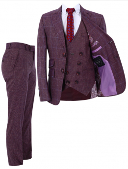 Boy's Check Slim Fit Suit Formal 3 Piece Set in Burgundy front picture