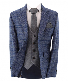 Boy's Check Tweed Slim Fit  Blue Jacket and  grey single-breasted waistcoat with accessories front open picture