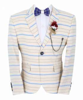 Boy's Horizontal Striped Slim Fit Fashion Blazer in Beige with Blue Stripes with accessories front picture