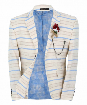 Boy's Horizontal Striped Slim Fit Fashion Blazer in Beige with Blue Stripes front  open picture