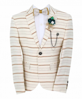 Boy's Horizontal Striped Slim Fit Fashion Blazer in Beige with Brown Stripes with accessories  front picture