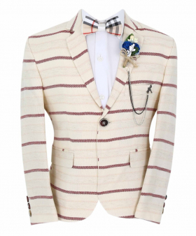 Boy's Horizontal Striped Slim Fit Fashion Blazer in Beige with Burgundy Stripes with accessories front picture