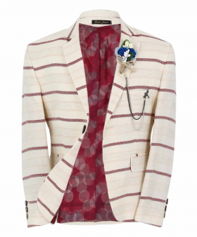 Boy's Horizontal Striped Slim Fit Fashion Blazer in Beige with Burgundy Stripes front open  picture
