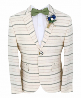 Boy's Horizontal Striped Slim Fit Fashion Blazer in Beige with Green Stripes with accessories front  picture