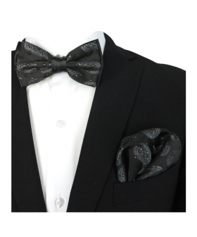 Boy's & Men's Adjustable Neck Strap Bow Tie and Hanky Set in Black and White for Formal and Special Occasion events with Shirt and Suit Jacket