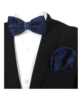 Boy's & Men's Adjustable Neck Strap Bow Tie and Hanky Set in Navy Blue for Formal and Special Occasion Events  with Shirt and Suit Jacket