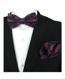 Boy's & Men's Adjustable Neck Strap Bow Tie and Hanky Set in Navy Blue and Red for Formal and Special Occasion Events with Shirt and Suit Jacket