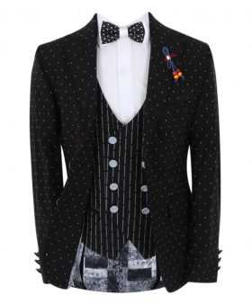 Boy's Polka Dot Slim Fit Suit Formal Jacket and pinstriped double-breasted waistcoat in black with accessories front open picture
