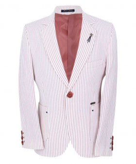 Boy's Striped Boating Slim Fit Blazer in Burgundy front picture